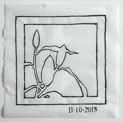 The first design development of the lily bud drawing.