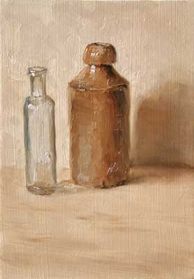 Still life with two old bottles