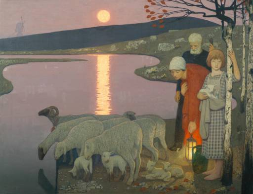 Pastoral scene by Frederick Cayley Robinson.