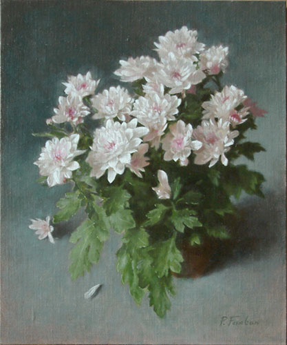 Oil painting on linen panel: Winter Chriysanthemums
