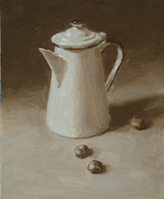 Still life a coffee pot and three conkers