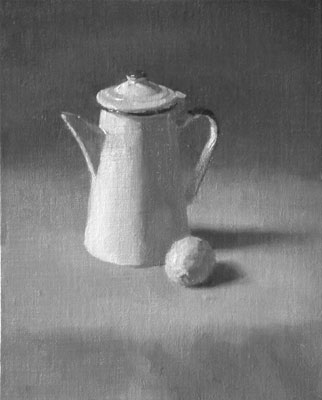 Coffee pot and lemon tone study