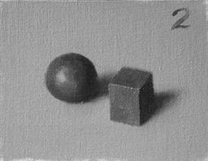 Munsell Value 2 cube and sphere