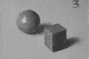 Munsell value studies – cubes and spheres in form light