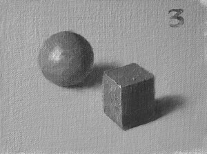 Munsell Value 3 cube and sphere