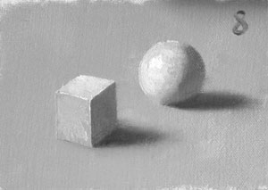 Munsell Value 8 cube and sphere