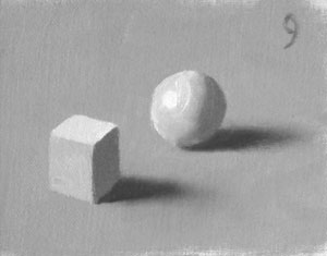Munsell Value 9 cube and sphere