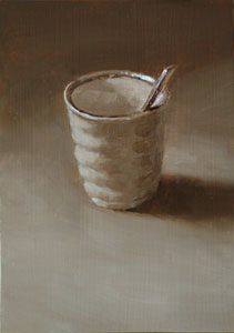 Still life with Japanese cup and teaspoon