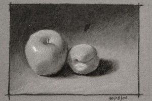 Still life Drawing Number Nine – Apple and Apricot
