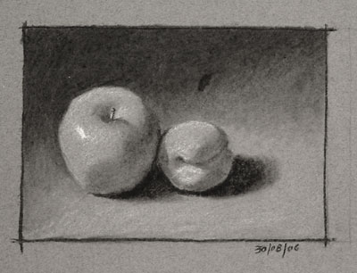 Still life drawing number nine - apple and apricot