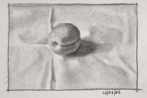 Still life Drawing Number Seven – an Apricot