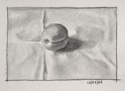 Still life drawing number seven - an apricot