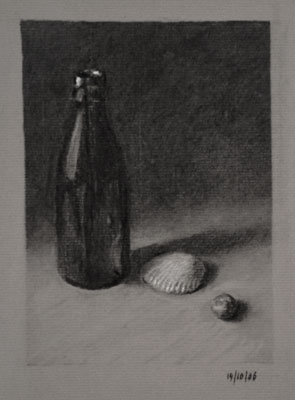 Still life drawing number forty-five - Bottle, Shell and Conker