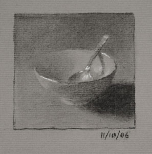 Still life drawing number forty-two - Bowl and Teaspoon
