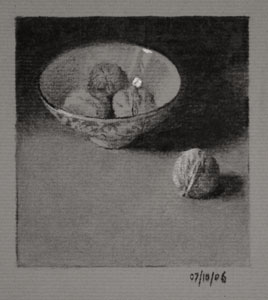 Still life drawing number Thirty-nine - Bowl of Walnuts