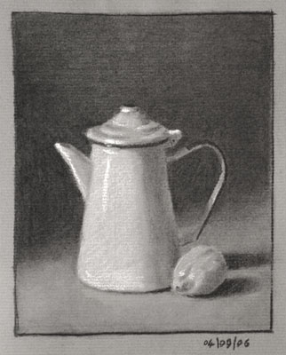 Still life drawing number fifteen - coffe pot and lemon