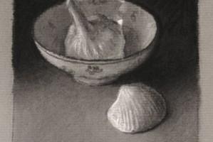 Garlic, bowl and shell – Still life Drawing Number Twenty Six