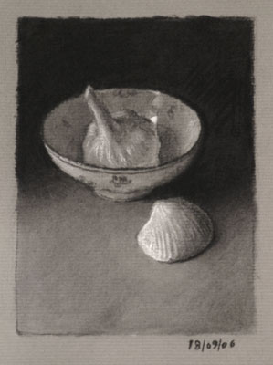 Still life drawing number twenty-six - Garlic, bowl and shell