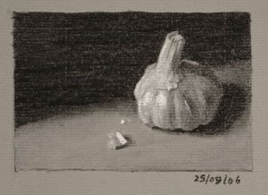 Still life drawing number Thirty-two - Garlic bulb