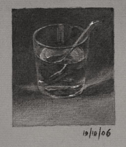 Still life drawing number forty-one - Glass of Water and Teaspoon