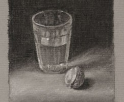 Glass of Water and Walnut – Still life Drawing Number Twenty Eight
