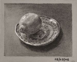 Still life drawing number Thirty-five - Lemon on a Saucer