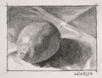 Still life drawing number two - a lemon