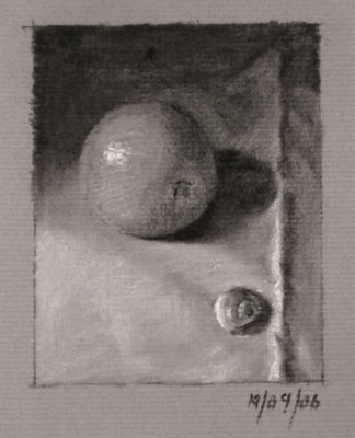Still life drawing number twenty-seven - Orange and shell