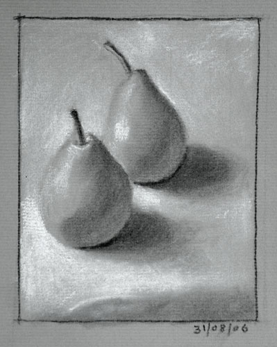 Still life drawing number eleven - two pears