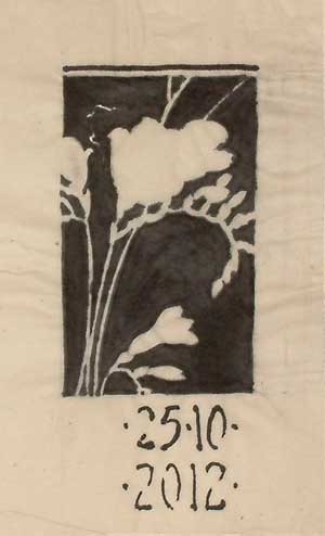 Composition studies - brush and ink drawing of freesias in a rectangular format, black background