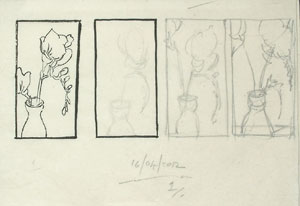 A few rough pencil sketches trying different placement of the main elements of the composition.
