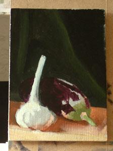 Garlic and auberginestill life - half way through