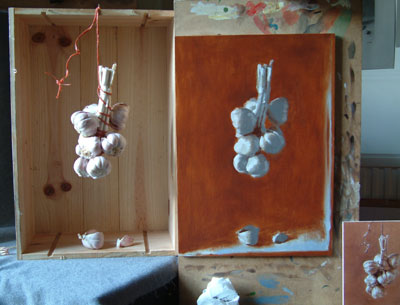 hanging garlic, work in progress