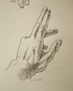 Hand drawing number five
