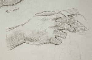Hand drawing number nine