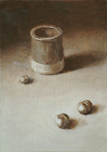 Still life with jar and conkers