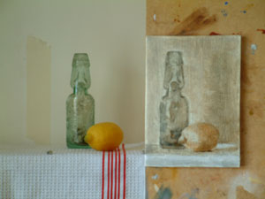 Lemon and Bottle under painting
