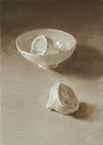 Still life with lemon and bowl