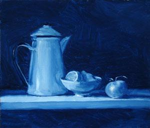 Blue still life with lemon and totmato