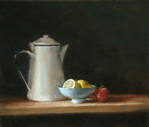 Still life with lemon and tomato - version 2