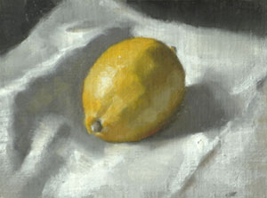 A lemon on a white cloth