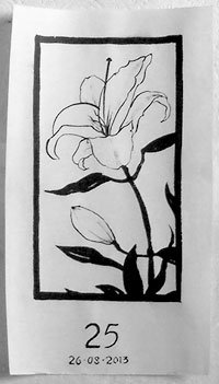 Lily, a drawing with Chinese brush and ink
