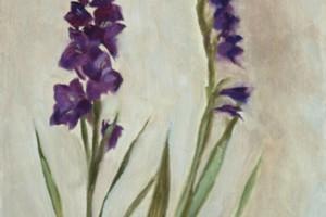 Purple Gladioli, Oil on Panel