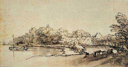 Rembrandt ink landscape