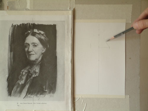 Sargent Portrait Copy - transferring the practiced angle