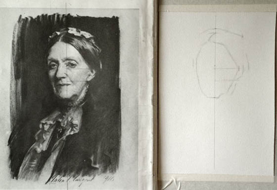 Sargent Portrait Copy - the shape of the head completed