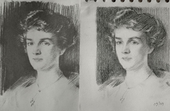 Copy of a Sargent drawing - Mrs Swain
