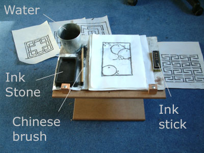 Set up for Chinese brush drawing