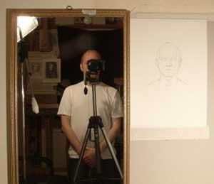Setting up a sight size self portrait
