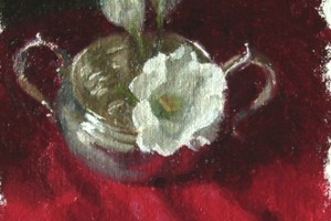 Old Silver – Sugar Bowl and White Flower